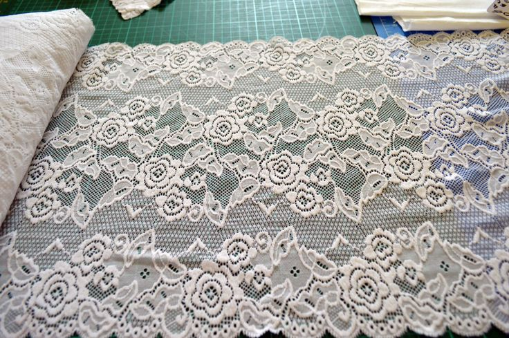 NC008, white elastic lace, mirror scalloped edges, 32cm wide by TheQuiltedCheese on Etsy