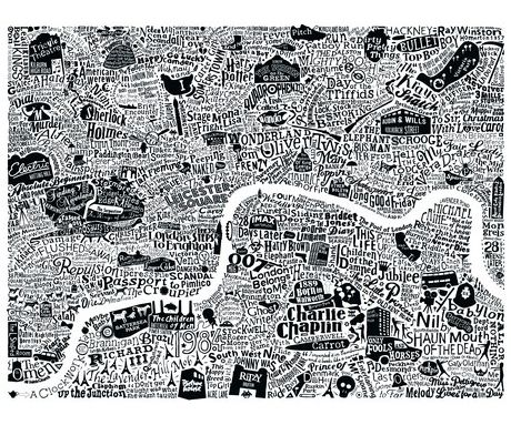 Film London Map Art Print - white