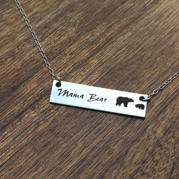 Mama Bear Bar Necklace Mama Bear Necklace Bar Necklace Bar Jewelry Mom Necklace Bar Jewelry For Mom Gift Mother's Day Birthday Gift for Mom Mama Bear Necklace Baby Bear