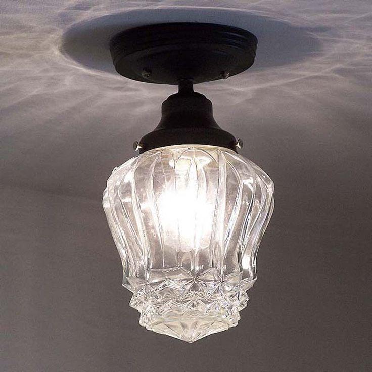 615 Vintage Art Deco Glass Ceiling Light Fixture Hall