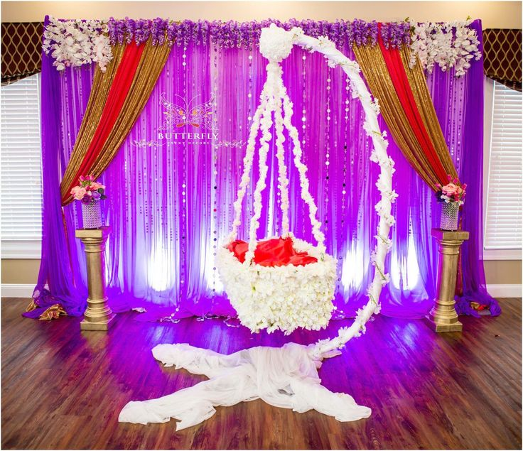 Cradle and naming ceremony by diy easy cradle decoration for Baby shower function decoration