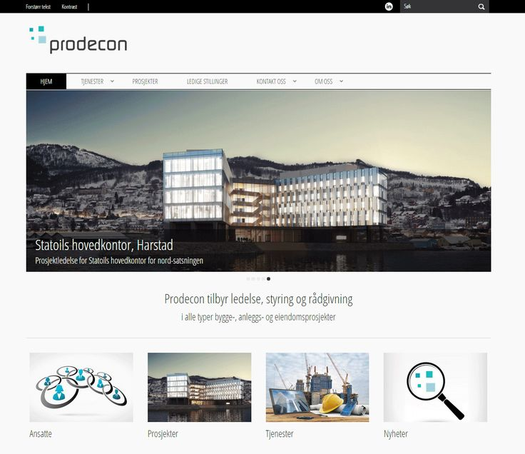Slik ser Prodecons Wordpresside ut.