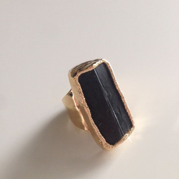 Black Tourmaline 24K Gold Dipped Ring Makes a big statement! Adjustable. Jewelry Rings