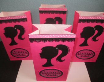 Barbie Hot Pink Favor Bags Thank You Party Bags