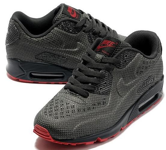 latest nike air max 90 carved sports shoes red black on sale