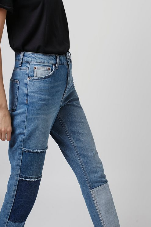 eb24ffd38c0f0b MOTO Patchwork Mom Jeans in 2019 | My Closet | Fashion, Mom jeans, Jean  outfits