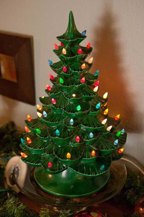vintage ceramic christmas tree with lights - Green Ceramic Christmas Tree With Lights