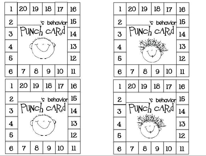 1000 Images About Behavior Punch Cards On Pinterest