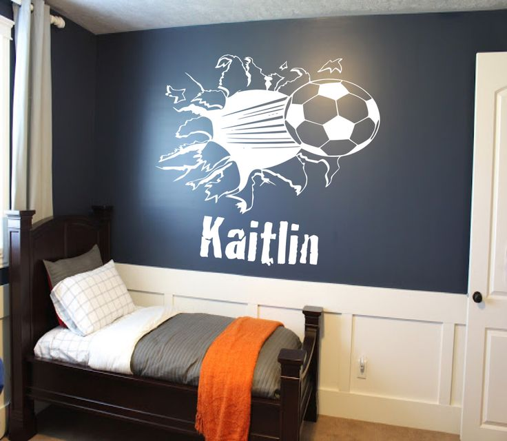Custom Soccer Ball Bursting Through Wall Decal - Custom Sports Decal, soccer decal, custom wall decals, sports wall decal, kids room decor by SportsVinyl on Etsy https://www.etsy.com/listing/198404299/custom-soccer-ball-bursting-through-wall