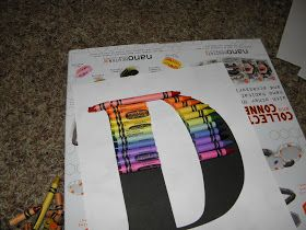 I saw several versions of these crayon monograms on Pinterest. I pieced together ideas from different tutorials and this is what I came up ...
