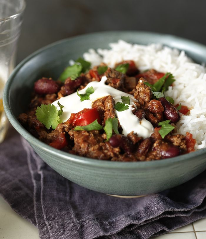 Rich, warming chilli con carne  is a family favourite. Keep some extra chilli on the side for those that like it HOT!