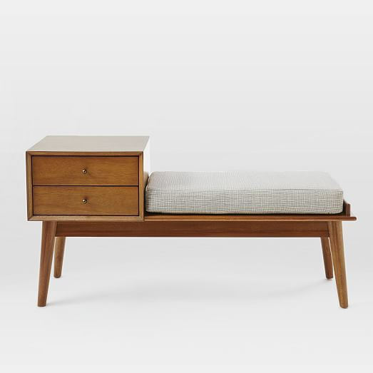 I was imaging a bench just like this, something like an old telephone bench but updated and then West Elm delivered