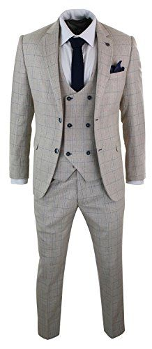 b7d3a1f6c748 Marc Darcy Mens 3 Piece Cream Beige Blue Check Double Breasted Waistcoat  Suit Many More Styles & Colours Available in Store!! Mens Complete 3 Piece  Marc ...