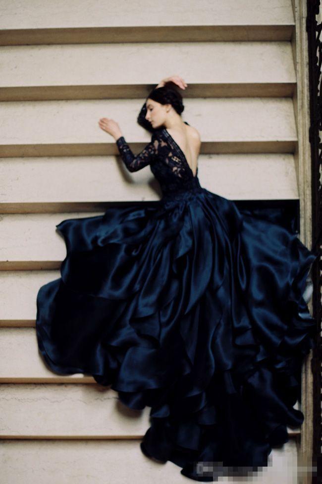 Modest Pnina Tornai 2017 Black Lace Long Sleeve Gothic Wedding