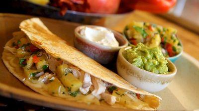 Chicken Quesadillas with Pineapple Salsa #Recipe #AztecaFood #quesadilla