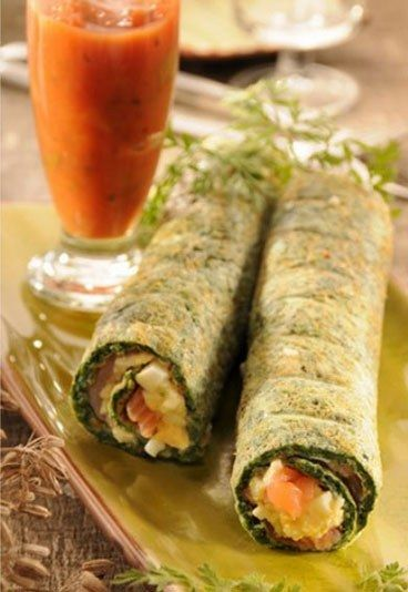 Crèpe agli spinaci ripiene di salmone - Ricette salmone, ricetta salmone…