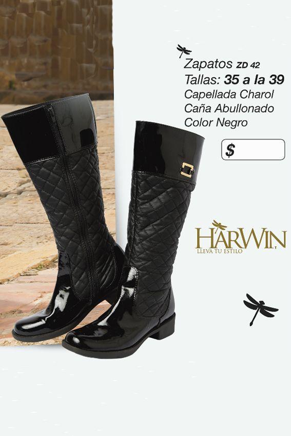 Lindas botas con capellada en charol y caña abullonada Referencia: ZD42 Tallas: 35 a la 39 Color negro Precio: $115.000