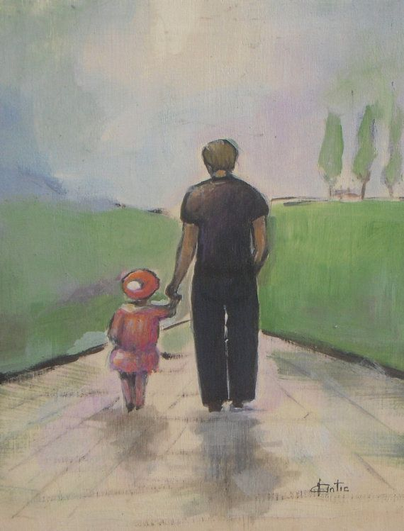 Father and Daughter Walk Dad original acrylic by VESNAsART