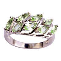 Nueva joyería de moda hojas diseño Nobby verde amatista 925 anillo de plata tamaño 6 7 8 9 al por mayor envío gratuito