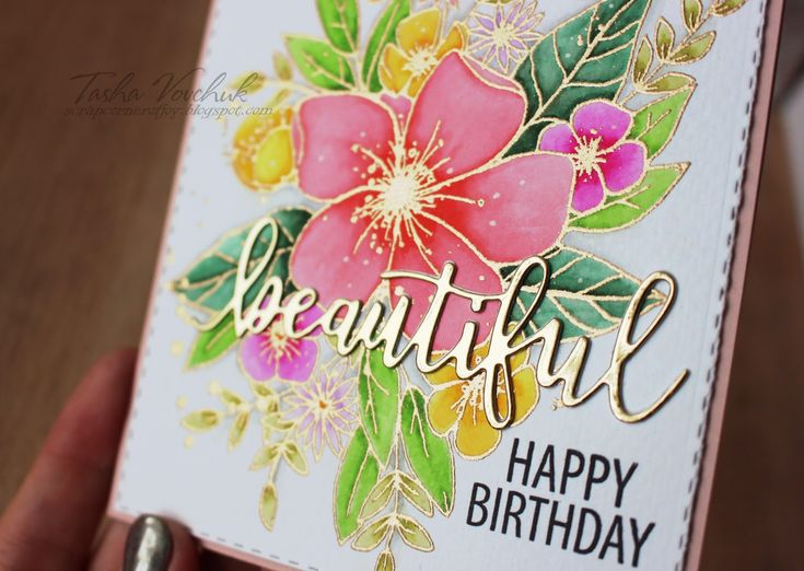 """""""Hello lovely"""" stamp set from Concord&9th. Stamped the image with VersaMark embossing ink and heat set it with Ranger gold embossing powder, then colored the bouquet with Zig clean color real brush markers."""