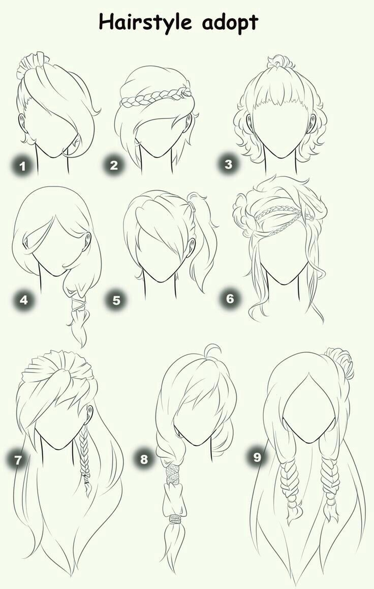 Hairstyle Adopt, text, woman, girl, hairstyles; How to Draw Manga/Anime – Zeichnen