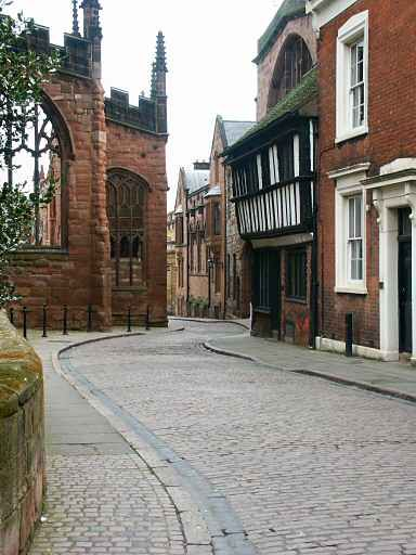 Bayley Lane, with the ruins of the old Coventry Cathedral, UK The Cathedral was destroyed during the bombing in WW2 but part of the ruins have been retained as a memorial B. Lowe