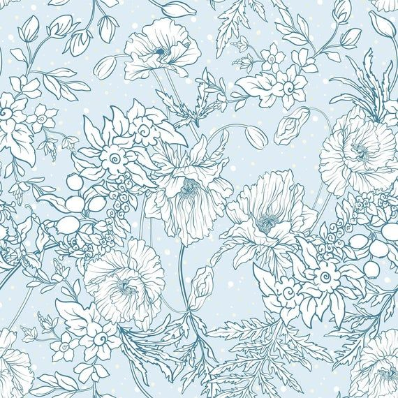 Blue And White Floral Floral Peel And Stick Removable Etsy Wallpaper Wallpaper Panels Peel And Stick Wallpaper