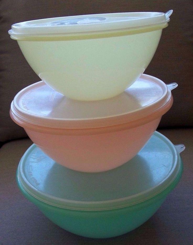 Vintage Tupperware 3 Wonderlier Bowl w/Lids 1954 Set Storage Orlando Mid Century