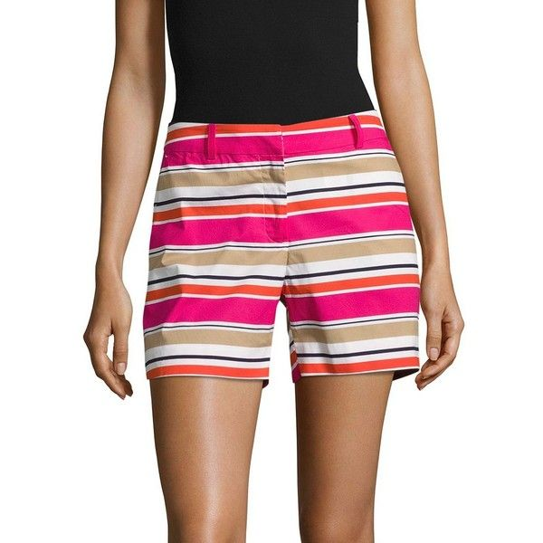 Michael Kors Women's Striped Cotton-Stretch Shorts ($27) ❤ liked on Polyvore featuring shorts, electric pink, pink shorts, zipper shorts, cotton stretch shorts, pink striped shorts and michael kors shorts