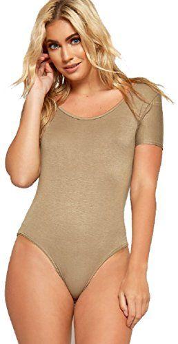 6736ea5983 Red Olives Womens Ladies Plain Cap Sleeve Scoop Neck Leotard Top Stretch T-Shirt  Bodysuit UK 8-14 12 14 Mocha