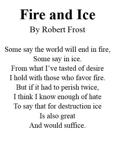 Image result for famous poems by robert frost fire and ice