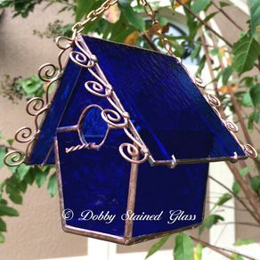Stained Glass Birdhouse - Cobalt Blue With Copper Swirls by Debbie Lacek