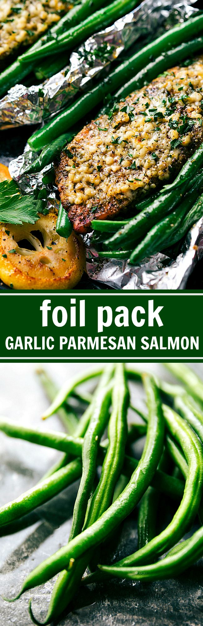 30 MINUTE DINNER! So fast and easy to make! Lemon garlic parmesan salmon and green beans in foil packets cooked over the grill or in the oven. Recipe from chelseasmessyapron.com