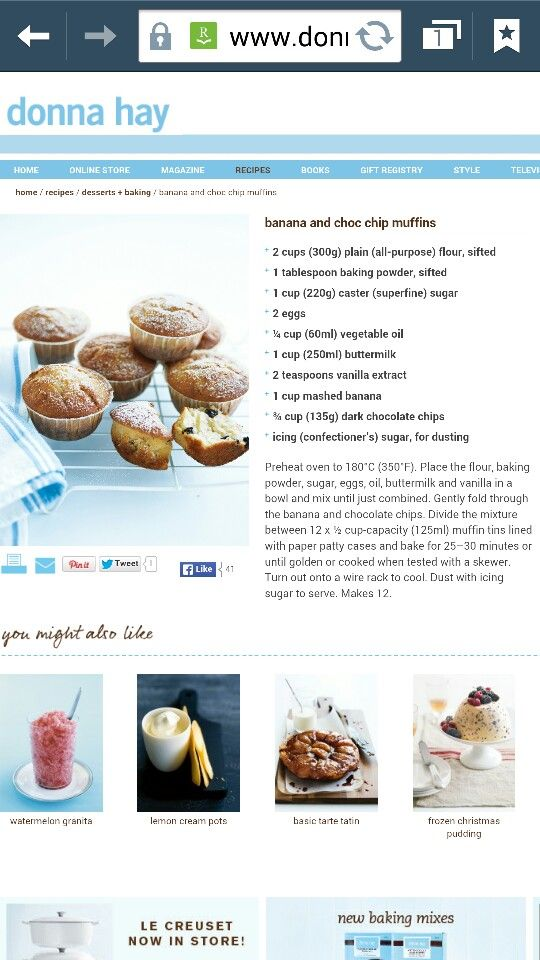 Banana Choc Muffins by Donna Hay