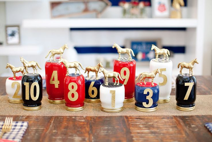 A DIY centerpiece for your Kentucky Derby party! Race Horse Mason Jars