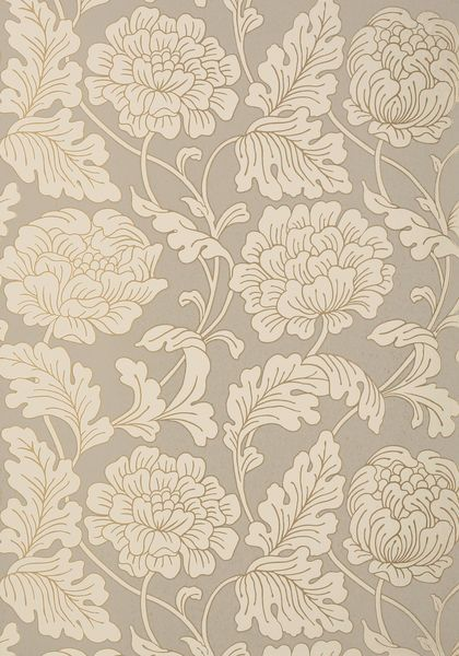 With a hint of art nouveau style, Hathaway's large and blooming floral wallpaper pattern is beautifully accented with metallic upon a variety of neutral-colored matte backgrounds. Featured here in pewter on putty from the Neutral Resource collection.
