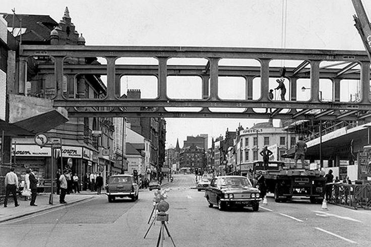 The pedestrian footbridge being built over Parliament Street, Nottingham, 1971