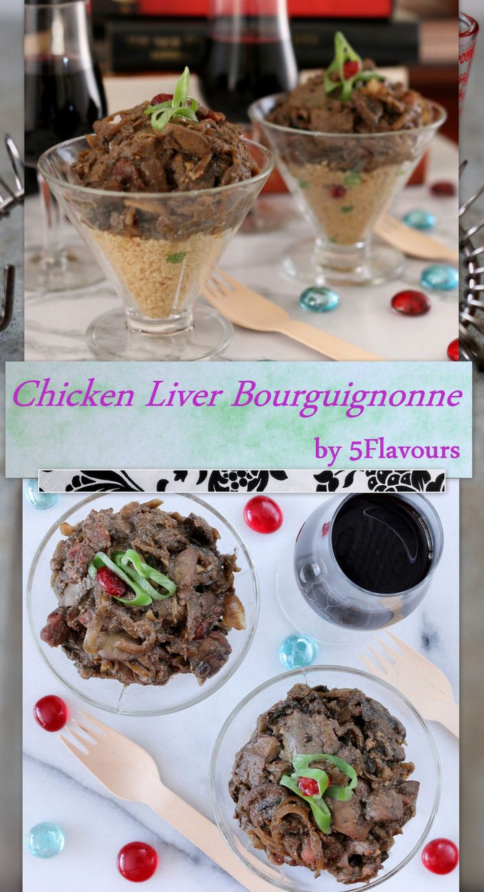 Chicken liver goes bling! Bacon, mushrooms, red wine & caramelized onions – an irreverent stab at haute French Cuisine.