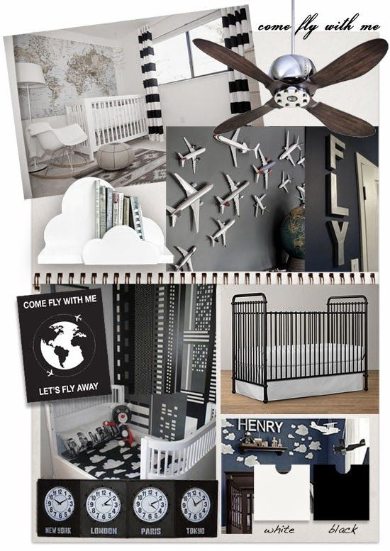 This cute aviation themed nursery in black and white is just the thing to inspire a future jet setter or pilot.   Credits : Traveller nurs...