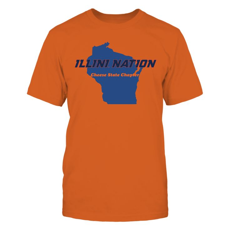 Illini Nation Wisconsin Cheese State Chapter Front picture Illinois Fighting Illini fan. This t-shirt is a wonderful gift for you, your father, brother, sister, mother, grandfather, grandmother, aunt, uncle, fire boy, niece for parties, birthday, Father's Day, Thanksgiving, Christmas, New Year