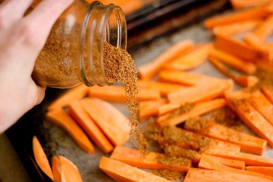 Sweet Potato Fry Seasoning - 2 T each: chili powder, garlic powder, cumin, sea salt (could add pepper/cayenne)