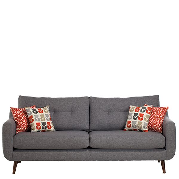 Get a chic Scandi look with the modern mid century inspired Myers sofa from Barker and Stonehouse ❤ Turned legs, gentle curves and buttoned back cushions add to its appeal. #homedecor #sofa #Scandinavian