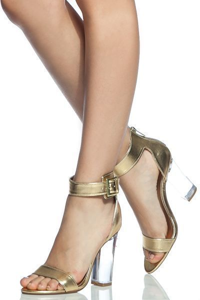 02514fad626e Gold Faux Leather Ankle Strap Translucent Heels  goldanklestrapsheels   chunkyanklestrapsheels