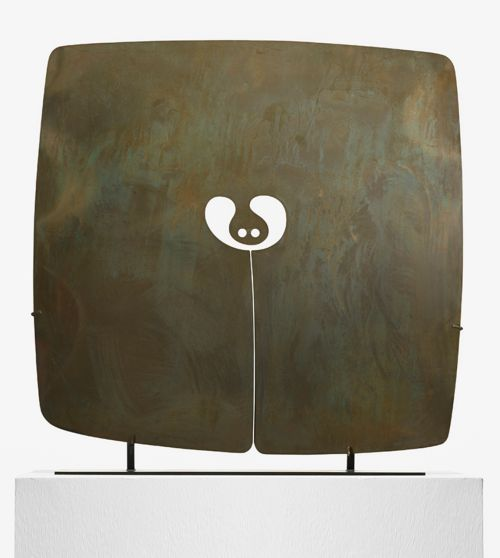 scandinaviancollectors:  HARRY BERTOIA, Untitled (Gong), USA, 1970. Silicon bronze with applied patina. / Wright