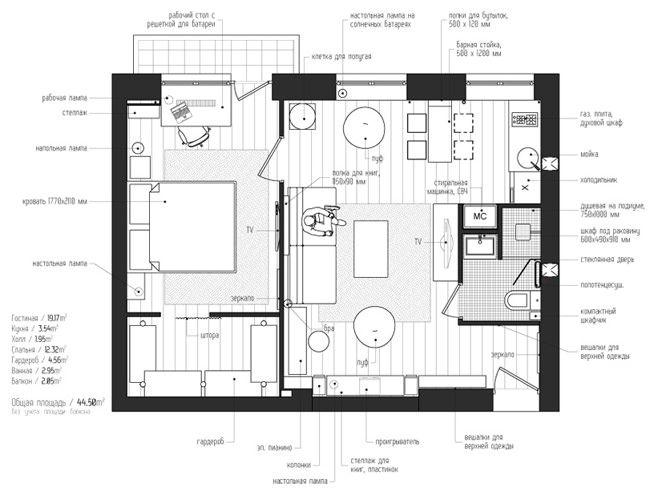 дизайн 2-комнатной квартиры хрущевки