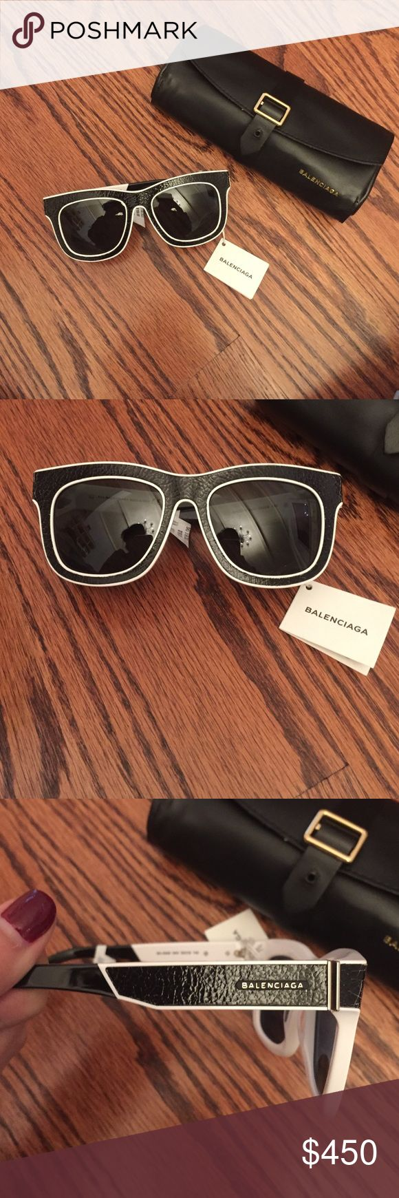 Authentic Balenciaga Sunglasses 100% Authentic NWT Black Cracked Leather Balenciaga Sunglasses 2016 Balenciaga Accessories Sunglasses