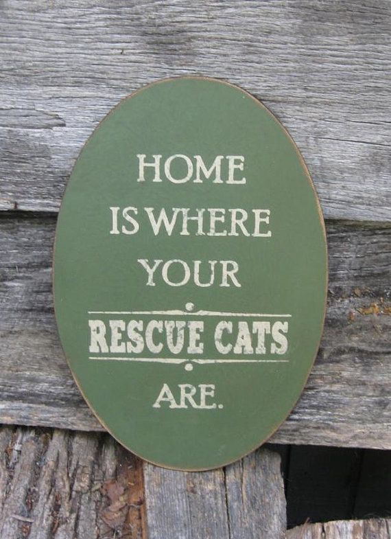 Primitive Sign - Home Is Where Your Rescue Cat Is or Rescue Cats Are on Etsy, $25.00