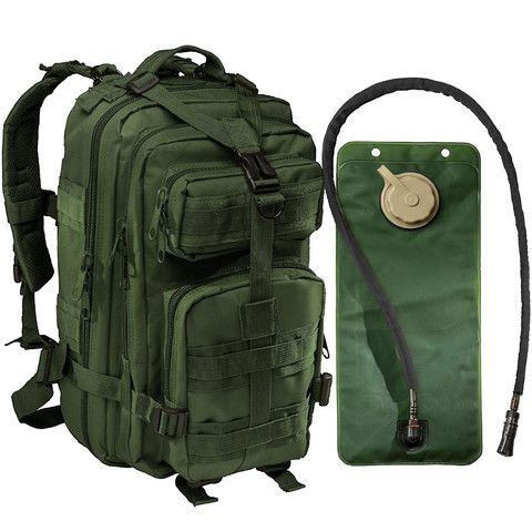 Small Tactical Assault Military Backpack -2.5 Liter Hydration Water Bladder System Included by Monkey Paks™