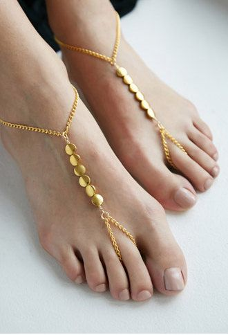 Gold Coin Chain Barefoot Sandals, Slave Anklet, foot thong, ankle bracelet with toe ring