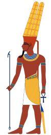 La triade de Thèbes :  AMON (Le caché), époux de Mout et père de Khonsou. Amon était à l'origine le dieu de Thèbes, puis devint une déité universelle et, sous la XVIII ième Dynastie, il fut considéré comme le Roi des Dieux.